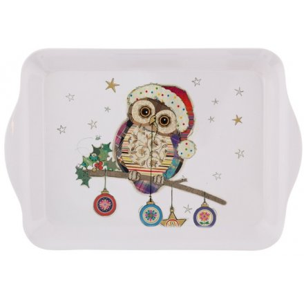 Festive Owl & Bauble Small Serving Tray