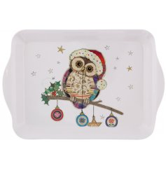 A festive themed plastic serving tray with a cute little illustrated owl decal