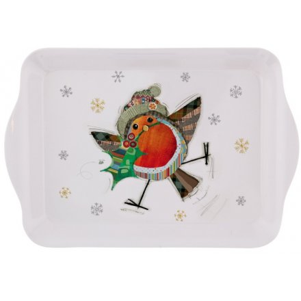 Festive Robin Small Serving Tray