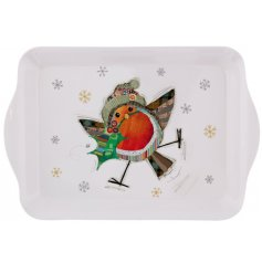 Bug Art Festive Robin Small Tray -  A festive themed plastic serving tray with a cute little illustrated robin decal