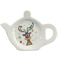 A festive themed Teabag tidy with a cute little illustrated rudolph decal