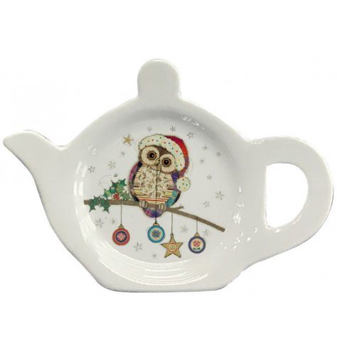 A practical tea bag tidy with a colourful and quirky patchwork owl illustration, featuring Christmas baubles.