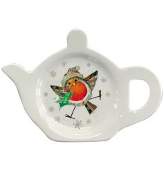 A festive themed Teabag tidy with a cute little illustrated robin decal