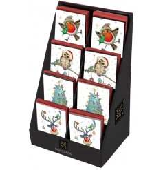 Send your seasons greetings with an added festive charm with these fun themed mini greetings cards