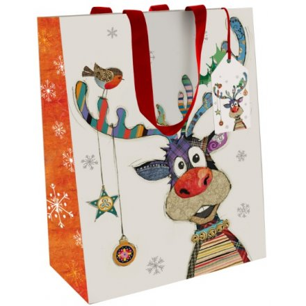 Small Colourful Rudolph Gift Bag