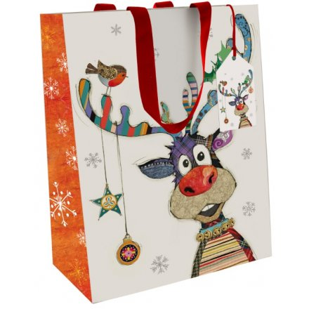 Medium Colourful Rudolph Gift Bag