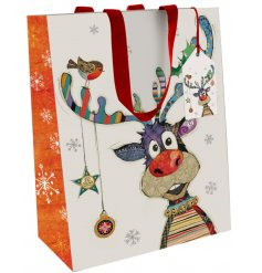 Part of the wonderful Bug Art range is this Festive Rudolph inspired gift bag, available in an assortment of sizes