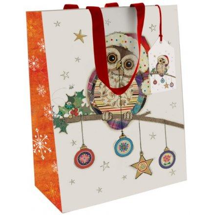 Small Owl & Bauble Christmas Gift Bag