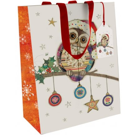 Medium Owl & Bauble Christmas Gift Bag