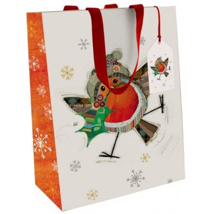 Festive Robin Gift Bags Bug Art Small
