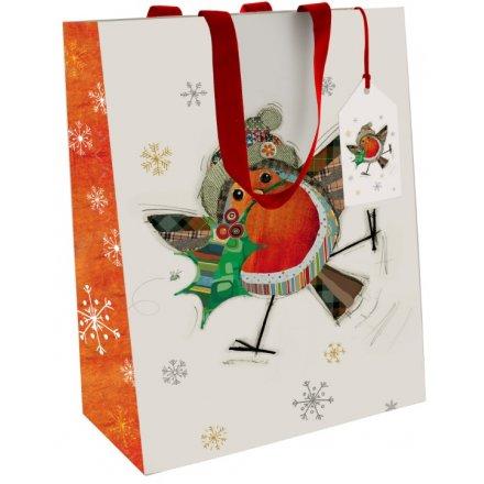 Festive Robin Bug Art Gift Bags Medium