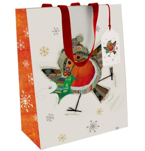 A fine quality Christmas gift bag with a colourful and quirky patchwork Robin illustration