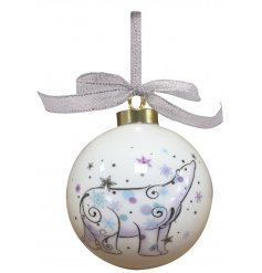 A beautiful and simple round smooth bauble featuring a Whimsical inspired printed polar bear decal