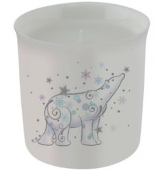 A beautiful and simple ceramic candle pot featuring a Whimsical inspired printed polar bear decal