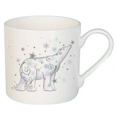 A beautiful and simple ceramic mug featuring a Whimsical inspired printed polar bear decal