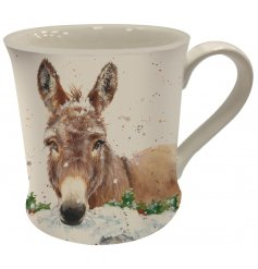 Fall in love with this adorable donkey design mug in a snow filled scene. Complete with gift box.