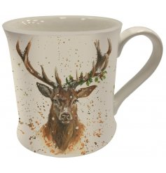 A charming stag design mug with gift box. A fine quality gift item with festive detailing on the design.