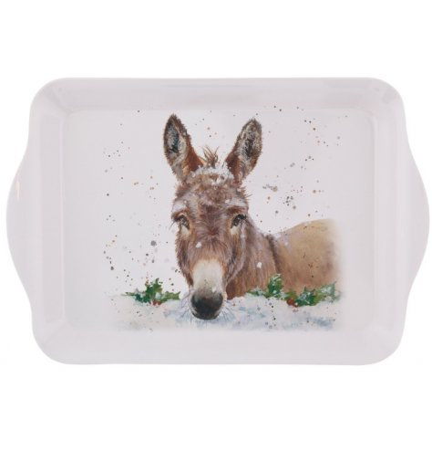 A small tray featuring a beautiful Christmas donkey illustration in Bree Merryn's signature style.