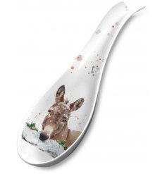 A charming Christmas donkey design spoon rest. A stylish gift item and practical tableware product.
