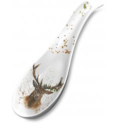 A beautifully illustrated woodland stag spoon rest. A charming gift item and tableware product.
