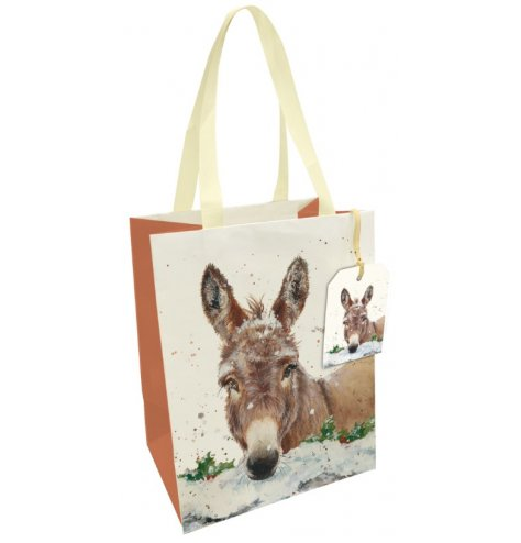 A fine quality gift bag featuring a Christmas donkey design in Bree Merryn's signature style.