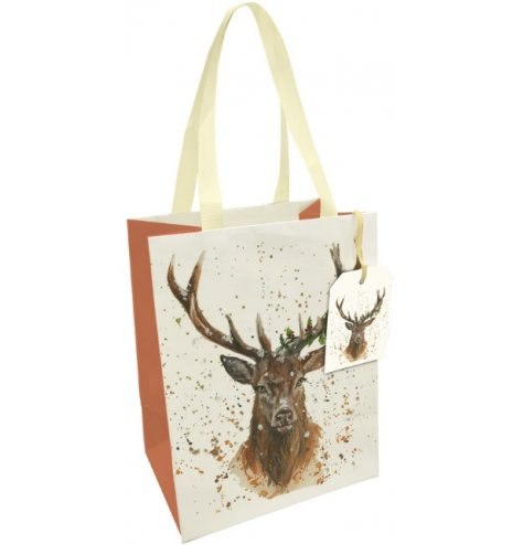 A fine quality gift bag featuring a Christmas Stag illustration with holly entwined antlers.
