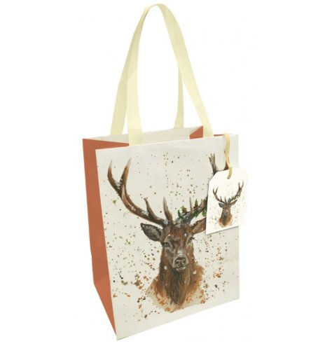 A fine quality gift bag with a Christmas stag illustration, painted in Bree Merryn's signature style.