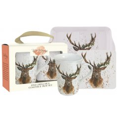 A fine china mug, coaster and tray set decorated with a stunning Stewart Stag Christmas illustration.
