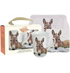 A charming and beautifully packaged three-piece gift set including a mug, coaster and tray.