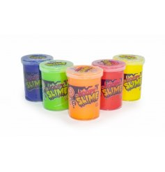 An assortment of coloured slime, safely stored inside clear plastic tubs