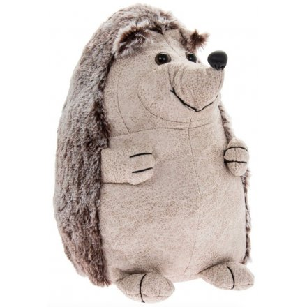 Faux Leather Cream Hedgehog Doorstop