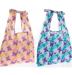 A colourful assortment of strong fabric shopping bags that fold up and clip securely into a handbag