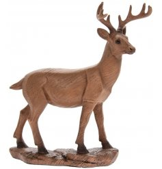 Introduce a vintage charm to your home space with this beautifully detailed ornamental wooden deer figure