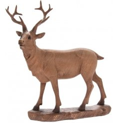 Introduce a vintage charm to your home space with this beautifully detailed ornamental wooden stag figure