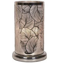 A luxury table lamp with a bold leaf design and shimmering glass. A stunning, on trend feature for the home.