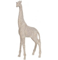 A beautiful decorative Giraffe Figure complimented by a white wash tone and detailed embossed patterns