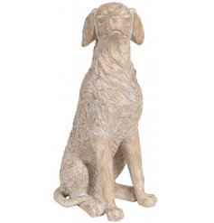 A beautiful decorative dog ornament, set to look like a wood carving