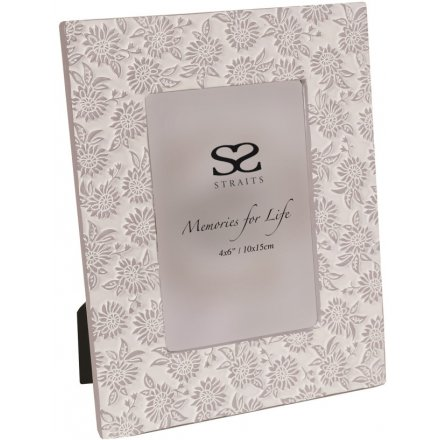 """Floral Ridged Picture Frame, 4x6"""""""
