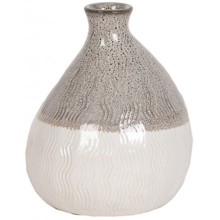 Decorative Bulb Vase With Wave Decal, 15.5cm