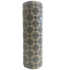 A gorgeously simple ceramic vase featuring a grey base tone and ridged diamond decal