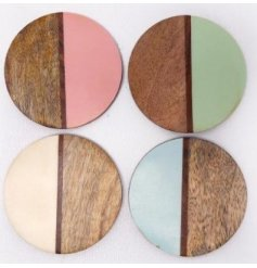 A quirky mix of smooth natural wooden coasters, each set with a split coloured side