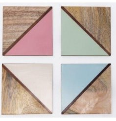 A stylish set of 4 round coasters each featuring a natural wooden and colour pop split