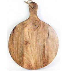 A natural wooden round chopping board set with an added rope hanger