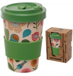 An autumnal themed floral printed Bamboo Travel Mug complete with an added green grip and matching screw top lid