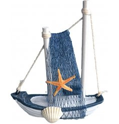 this Nautical themed fishing boat ornament will place perfectly on any side or table