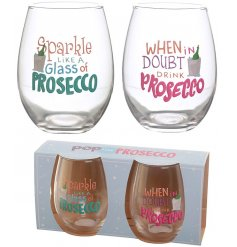 A set of 2 Prosecco inspired drinking glasses, perfect for any glass of bubbly!