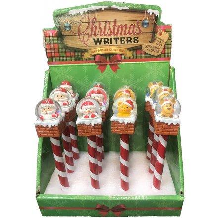 Christmas Snowglobe Pens