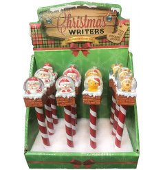 A festive themed mix of writing pens, with fun shaking snowglobes on the top