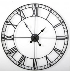 An attractive clock with roman numerals. Made from black metal with a rustic finish.
