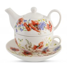 A beautifully decorated Tea For One Set featuring a Poppy Garden print